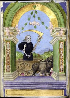 "From the Medieval Manuscripts blog post 'Blackburn's ""Worthy Citizen"": A Colloquium on the R.E. Hart Collection'. Image: Personification of Death at the beginning of the Office of the Dead, from an Italian Book of Hours, c. 1470-1480."