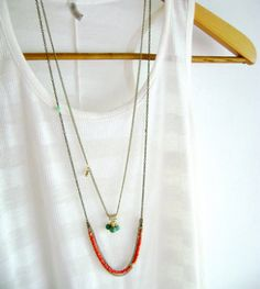 Multi layered set necklace turquoise gold red by DivinaLocura, #layered necklace #boho jewelry #urban