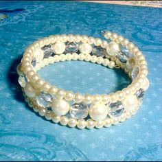Glass pearl and Czech Glass Wrap Beace Glass Pearl and Czech Glass Wrap Bracelet Sayre Jewelry Bracelets