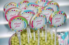 Printable 15 Swirl Pop Labels or Thank You by PaintingParisPink, $5.00