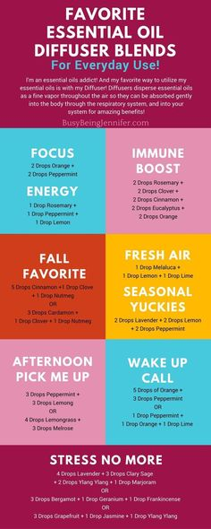 Everyday favorite Essential Oil Diffuser Blends! I love these!! Especially those stress relieving blends! - BusyBeingJennifer.com