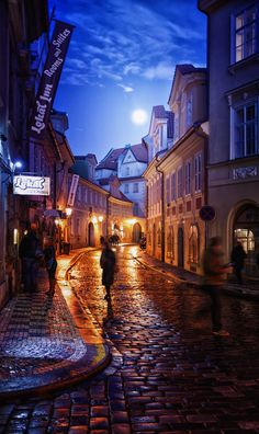 Moon Light on Prague Street