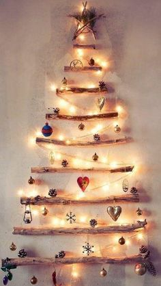A wall Christmas tree with pretty lights