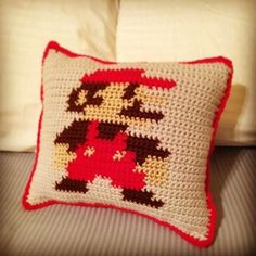 funkymonkey made this awesome pillow. It's crocheted on both sides and stitched together. Crochet Pillow, Tapestry Crochet, Crochet Blankets, Mario Bros., Super Mario, Mario Crochet, Corner To Corner Crochet Pattern, Large Blankets, Crochet Patterns