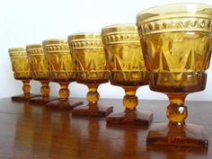 Vintage Amber Glass Goblets