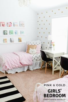 Pink U0026 Gold Girlsu0027 Bedroom Makeover: Modern Shabby Chic
