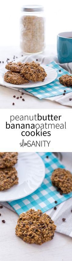 These Peanut Butter Banana Oatmeal Cookies are a healthy treat that use only five ingredients. Perfect for bringing along as a snack or dessert for any meal! | slimsanity.com