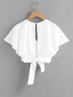 Deep V-cut Split Back Bow Tie Blouse Style : Elegant Sleeve Type : Batwing Sleeve Decoration : Button, Open Back, Knot, Wrap Collar : V Neck Pattern Crop Top Outfits, Cute Casual Outfits, Pretty Outfits, Teen Fashion Outfits, Girl Outfits, Fashion Dresses, Mens Fashion, Fashion Tips, Bow Tie Blouse