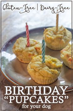 Birthday Pupcakes (Grain-Free) - The Harvest Skillet - A special treat for your dog, these birthday pupcakes are great for celebrations such as gotcha day - Dog Cake Recipes, Dog Treat Recipes, Dog Food Recipes, Dog Treats Grain Free, Grain Free Dog Food, Grain Free Dog Cake Recipe, Birthday Dog Treats, Dog Birthday Cakes, Dog Friendly Cake