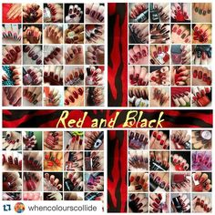 #Repost @whencolourscollide with @repostapp.  Here is the latest collage for the #whencolourscollide collage collab. Another huge collage again with 81 wonderful participants. If you want to join our bi-weekly nail challenges go to our FB page (link in bio) and join us! #whencolourscollide #nails #nailart #collage #collab #nailchallenge #redblack by rugged_yska
