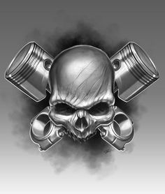 skull and piston tattoo - Google Search