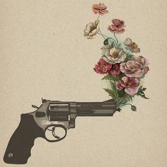 floral gun tattoo