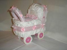 Pink Nappy Cake Pram - New Born - Baby Girl - Baby shower-Christening gift