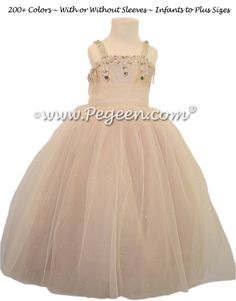 4487ea6d88 Flower Girl Dress in Toffee with Topaz Swarovski Crystals - style 904