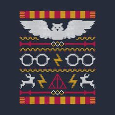 Yes, I realize it's a knitting pattern, but they work surprisingly well as embroidery patters - Harry Potter chart Pull Harry Potter, Cross Stitch Harry Potter, Harry Potter Crochet, Harry Potter Christmas Sweater, Ugly Christmas Sweater, Ugly Sweater, Cross Stitching, Cross Stitch Embroidery, Cross Stitch Patterns