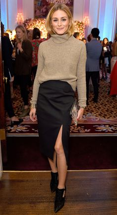 Olivia Palermo in a tan turtleneck, black pencil skirt and oxford heels - click through for more celebrity outfit ideas!