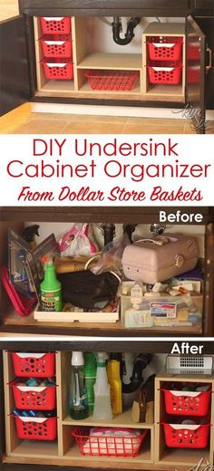 From a single sheet of plywood and some dollar store bins she built this fabulous organizer. What a great way to use all that awkward space under the sink! Undersink Cabinet Organizer with Pull Out Baskets. via TheKimSixFix.com