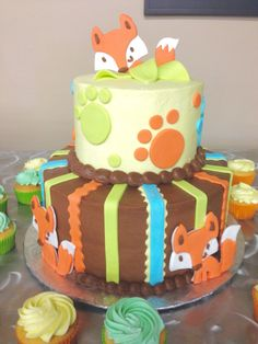 Fox Baby Shower Cake for woodland theme