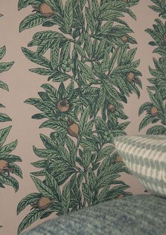 The MEDLAR wallpaper from Osborne & Little's MANSFIELD PARK collection. The leaves of an ornamental medlar tree bearing pretty blossom and fruits, presented in a vertical stripe layout. Osborne And Little Wallpaper, Mansfield Park, Country Of Origin, Special Events, Lust, Presents, Layout, Tapestry, Leaves