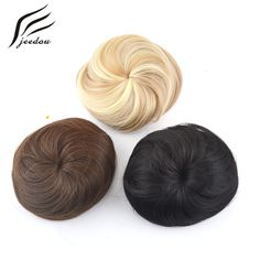 jeedou Colors Synthetic High Temperature Fiber Straight Hair Chignon Clip In Hair Bun Donut Roller Hairpieces Black Brown Blond