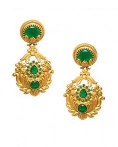 Golden Flower Earrings with Green Stones