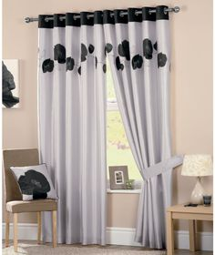 Buy Danielle Lined Eyelet Curtains 117x137cm - Black at Argos.co.uk - Your Online Shop for Curtains.