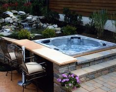 The History of Jacuzzi Outdoor Refuted Some Jacuzzi bathtubs have the capacity to run even when there's no water in the tub. Deciding upon a Jacuzzi bathtub on a normal bathtub has its benefits and disadvantages. Hot Tub Deck, Hot Tub Backyard, Hot Tub Garden, Backyard Patio, Small Garden Jacuzzi, Jacuzzi Outdoor Hot Tubs, Hot Tub Bar, Jacuzzi Tub, Bath Tub