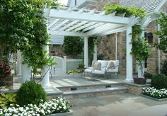 Beautiful pergola, setting and vines ~ Hess Landscape Architects