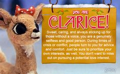 I took Zimbio's Rudolph the Red-Nosed Reindeer quiz and got Clarice! Who are you?