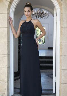 Cheap and Australia Black Column Halter Neckline Chiffon Long 2016 Bridesmaid Dresses from Dresses4Australia.com.au