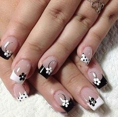 Manicure French tip nails black and white flowers - French Manicure Designs, White Nail Designs, Nail Art Designs, Nails Design, French Nails, French Manicures, Pretty Nails, Fun Nails, Nagel Hacks