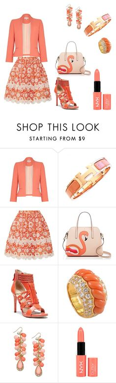 """""""charming"""" by amanihanbali ❤ liked on Polyvore featuring Damsel in a Dress, Hermès, Ryan Lo, Kate Spade, GUESS by Marciano, Boucheron, Thalia Sodi and NYX"""