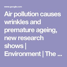 Air pollution causes wrinkles and premature ageing, new research shows | Environment | The Guardian