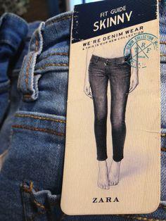 Put merchandise detail & fit? Zara, Leather Label, Swing Tags, Denim Branding, Tag Design, Clothing Labels, Fashion Labels, Skinny, Workout Pants