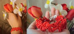 red bracelet from sand beads