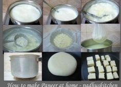 Paneer is an Indian cheese prepared from milk. It is easy to make paneer at home. Homemade paneer is very soft, spongy and is very simple to prepare. Paneer Recipes, Veg Recipes, Indian Food Recipes, Indian Foods, Indian Dishes, Delicious Recipes, Vegetarian Recipes, Idli Batter Recipes, Pizza Raclette