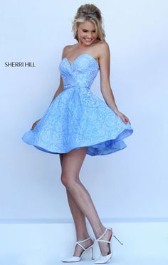 Strapless Sherri Hill 50131 Light Blue Bodice 2016 Short Homecoming Dresses Custom Sweetheart Neck Floral Printed