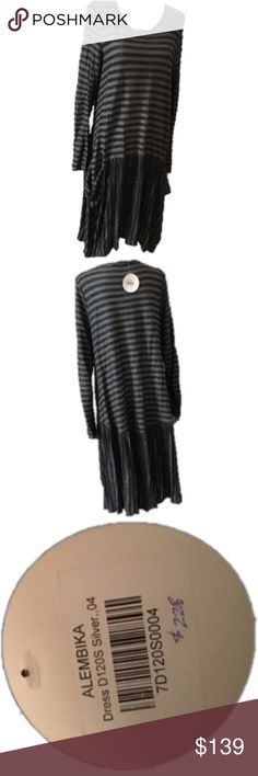 ALEMBIKA ASYMMETRICAL DRESS. NEW WITH TAGS.REDUCED ALEMBIKA ASYMMETRICAL DRESS. ALEMBIKA SIZE 4 which is a Large. BLACK AND GRAY WITH SILVER METALLIC THREADS. BEAUTIFUL. TOP OF DRESS HAS HORIZONTALSTRIPES AND LOWER IS VERTICAL. LONG SLEEVE SCOOP NECK. RETAILS FOR $228. ALEMBIKA Dresses Asymmetrical