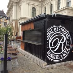 Vinyl logos for Royal Gastropub at container bar by the old railway station in Oslo Norway.
