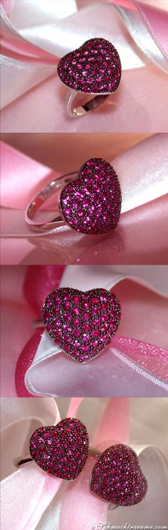 Cute Ruby Heart Ring, 1.90 ct. WG-14K - Visit: schmucktraeume.com Like: https://www.facebook.com/pages/Noble-Juwelen/150871984924926