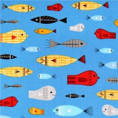 blue'Nautical' fish fabric Robert Kaufman from the USA 2