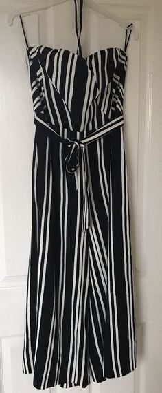 ca861cf44a5 H and M Stripe Strappy Boned Jumpsuit Black White Stripe Size 14  fashion   clothing