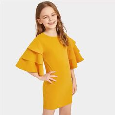 To find out about the Girls Layered Bell Sleeve Solid Dress at SHEIN, part of our latest Girls Dresses ready to shop online today! Girls Dresses Online, Dresses Kids Girl, Kids Outfits Girls, Cute Girl Outfits, Dress Girl, Girls Fashion Clothes, Tween Fashion, Fashion Dresses, Fashion Moda