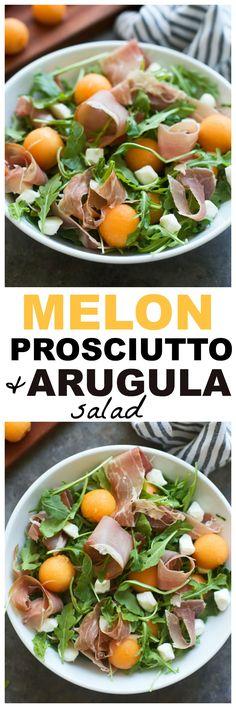 Melon, Prosciutto and Arugula Salad with Lemon Vinaigrette - An easy salad that's sure to impress!