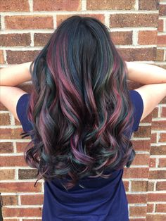 Pre-lightened balayage with Redken Flash Lift, toned down with Redken Shades EQ, and the colors used to achieve t… Oil Slick Hair Color, Cool Hair Color, Slick Hairstyles, Pretty Hairstyles, Green Hair, Purple Hair, Peekaboo Hair, Brown Ombre Hair, Hair Dye Colors