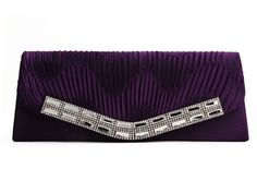 Dark Purple - Fashion Diamante  Pleated  Evening  Clutch bag via Bellíssima. Click on the image to see more!