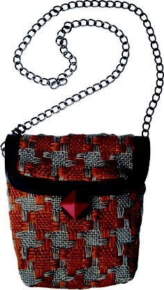 Submarine Xs chain small bag in handwoven fabric donna rust. geometrical details. chain handle
