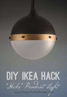 IKEA Hacks and DIY Hack Ideas for Furniture Projects  and Home Decor from IKEA -  DIY Ikea Hack Hicks Pendant Light - Creative IKEA Hack Tutorials for DIY Platform Bed, Desk, Vanity, Dresser, Coffee Table, Storage and Kitchen Decor http://diyjoy.com/diy-ikea-hacks