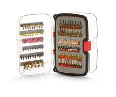 Fly Box Design: Holds 270 nymph or dry flies, split shoot and indicators Easily fits in shirt pocket & great for backpacking Waterproof, single hand closing with see though lid Holds sizes 18 to size 10 flies Fly Sizes 6, 8, 10, 12, 14, 16, 18  Divider System Regular  Number of Fly Slots 270  Size 4.75�� x 3.5�� x 1.375�� (12cm x 8.9cm x 3.58 cm)  Color Clear box/Red insert  Fly Types Dry Flies, Wet Flies, Midges, Nymph, Terrestrial