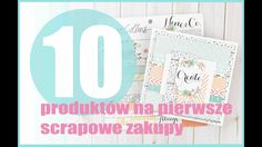 10 produktów na pierwsze scrapowe zakupy Cardmaking, Scrapbooking, Bullet Journal, Youtube, Instagram, Scrapbooks, Youtubers, Memory Books, Scrapbook